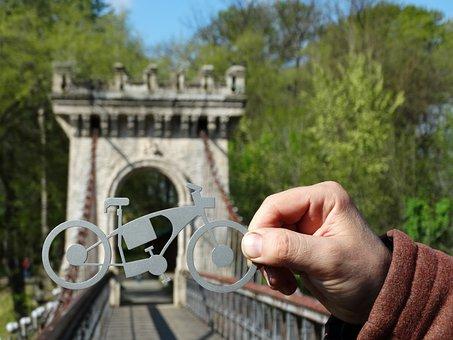 Bike, Bridge, Hand