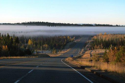 Fog Bank, Road, Highway, Early Morning Fog, Scenery