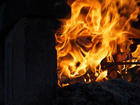 Fire, Flame, Wood, Hot, Burning, Ash, Brick Fire Place