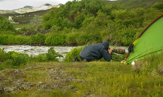 Iceland, Photographer, Telephoto Lens, Camping