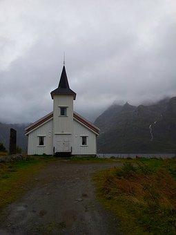 Chapel, Fog, Norway, The Lofoten Islands, Mountains