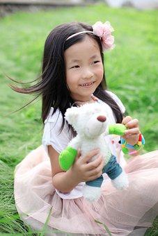 Cubs, Green Grass, Wind, Hair Clips, Pink Skirt, Asia