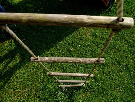 Rope Ladder, Playground, Head, Bobble Head, Climb, Wood