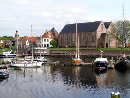 Vollenhove, Harbor, Port, Boats, Buildings, Netherlands