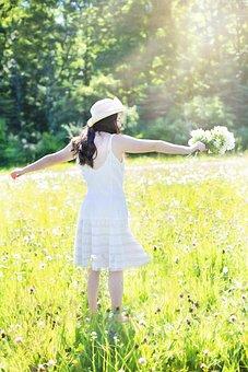 Pretty Girl In Wildflowers, Meadow, Summer, Happy