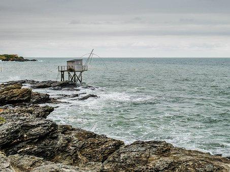 Pornic, Plaice, Sea, Brittany, Side, Horizon