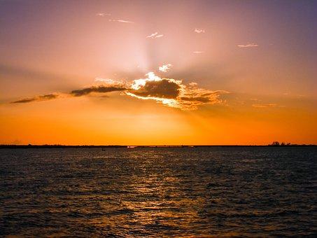 Sunset, Skyline, Sea, Sky, Clouds, Ocean, Water, Bay