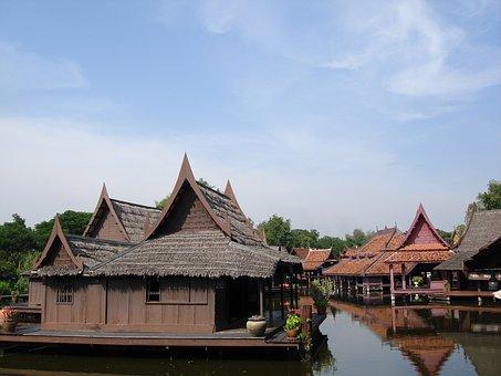 Thailand, Architecture, Park, Water, Floating Village