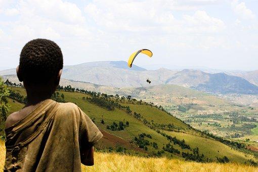 Landscape, Child, Paragliding, Burundi, Africa