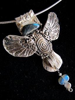 Angel, Angel Guardian, Jewel, Silver, Art Clay Silver