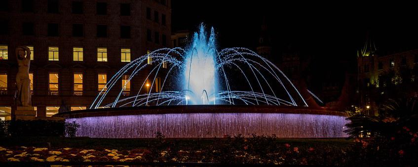 Barcelona, Fountain, Night, Blue, Architecture, Spain
