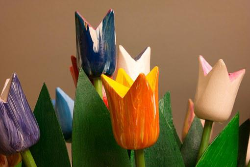 Tulips, Wood, Wooden Tulips, Colorful, Deco, Decoration