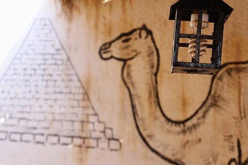 Egypt, Camel, Dromedary, Pyramid, Led, Lamp, Light