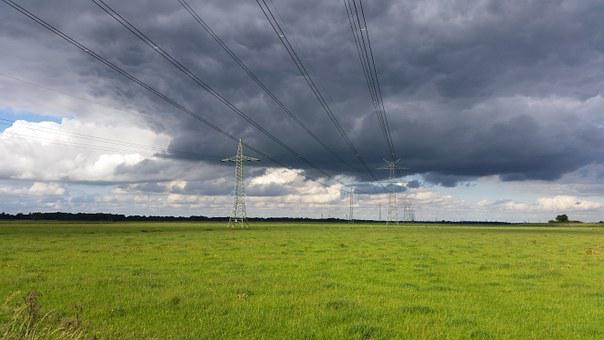 Forward, Power Poles, Electricity, East Frisia, Meadow