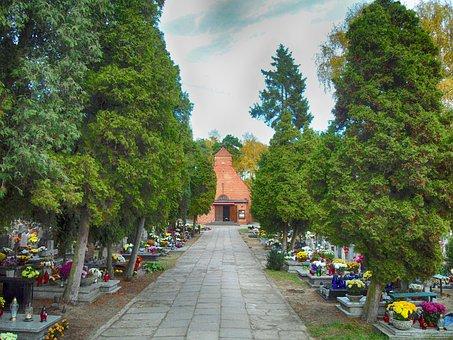 Gdansk, Poland, Cemetery, Graves, Flowers, Hdr, Trees