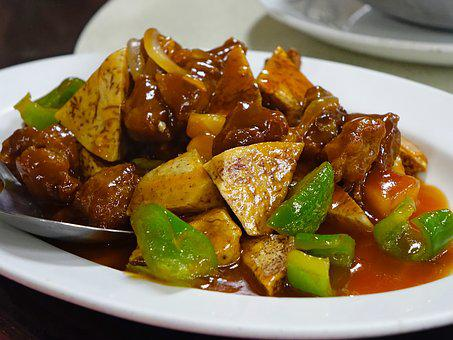 Sweet And Sour, Pork, Stir-fired, Yam, Meal, Fried