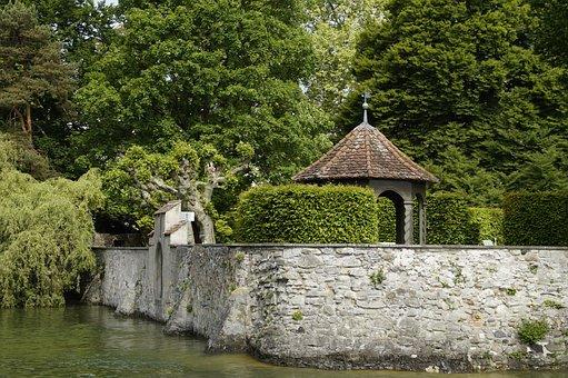 Moated Castle, Garden, Wall, Walled, Water, Lake