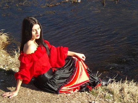 Girl, Gipsy, Lake, Red, Beauty