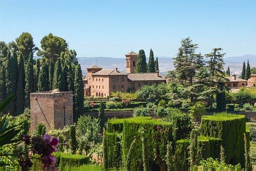 Convent, Granada, Spain, Garden, Plants, Building