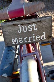 Bicycle, Just Married Sign, Rustic Bike, Bike, Love