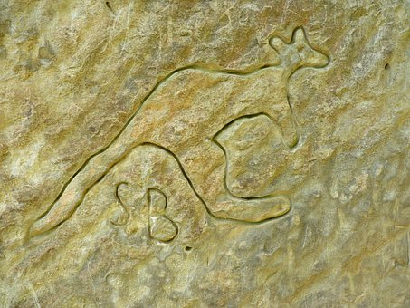 Kangaroo, Art, Rock Engraving, Sand Stone, Marie Canyon