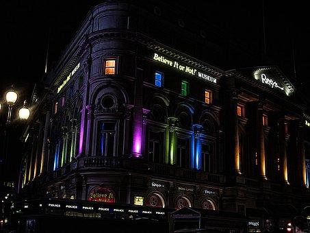 Building, Illuminated, Picadilly, Circus, London