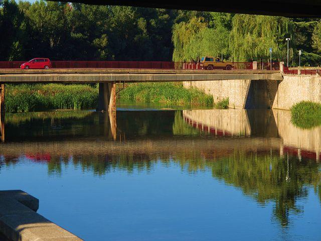 Reflection, Water, Canal, Blue, Car, Girona, Spain