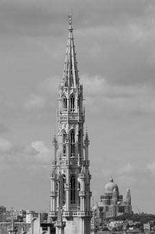 Brussels, Buildings, Skyline, Architecture, Town Hall