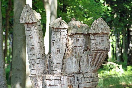 Wooden Figures, Helsingborg, Wooden Sculpture, Forest