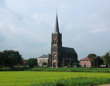 Church, Landscape, Village, Batenburg, Religion, Tower
