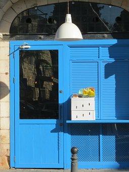 Door, Blue, Doorway, Entrance, House, Home, Residence