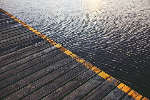 Wooden, Bridge, Boards, Water Surface, Trackt, Waves