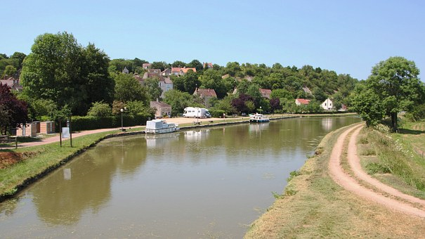 The Nivernais Canal, Water, Boats, Landscape