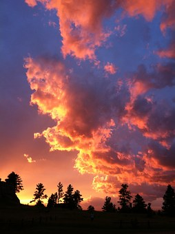 Cloudy Sunset, Vertical Sunset, Sky, Evening, Dusk