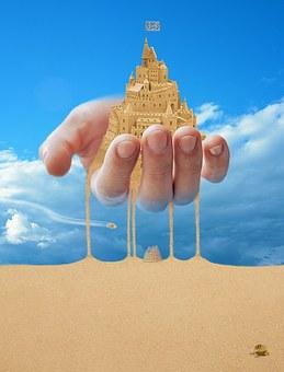 Landscape, Desert, Fantasy, Yellow Sand, Sky, Time
