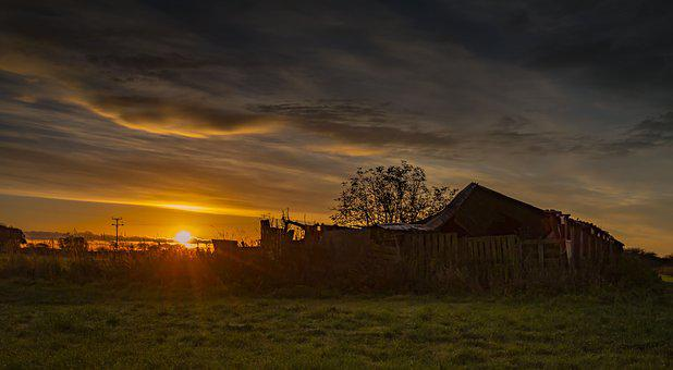 Sunrise, Old Barn, C, Barn, Farm, Old, Landscape, Rural