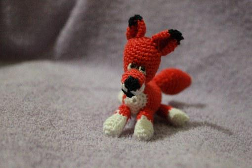 Fox, Toy, Crochet, Red, Small, Adorable, Handmade