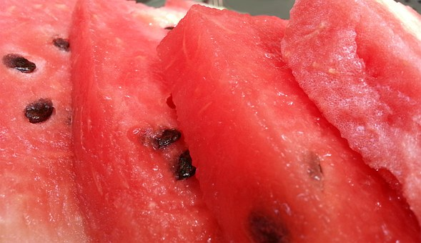 Melon, Red, Fruit, Slice, Dinnyemag
