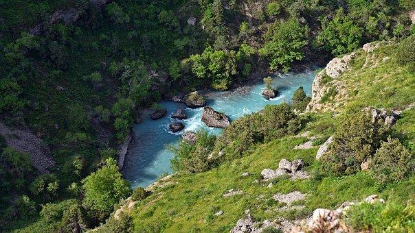 Mountain River, Canyon, Aksu, Stones, Mountains, Green
