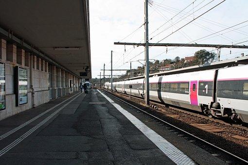 Station Platform, People, Train And Platform