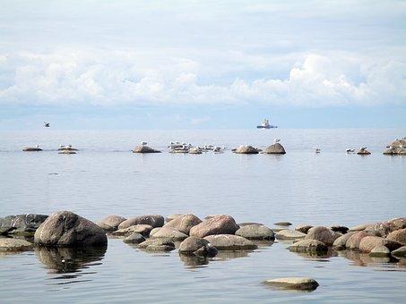 Gulf Of Finland, Sea, Stones, Horizon