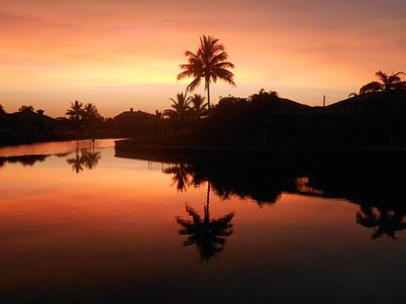Florida, Sunset, Canal, Cape Coral, Usa, Water