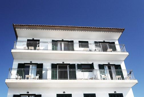 House, Apartments, White, Building, Balconies