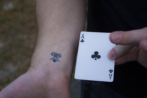 Ace, Card, Tattoo, Poker, Fortune, Black, Chance, Club