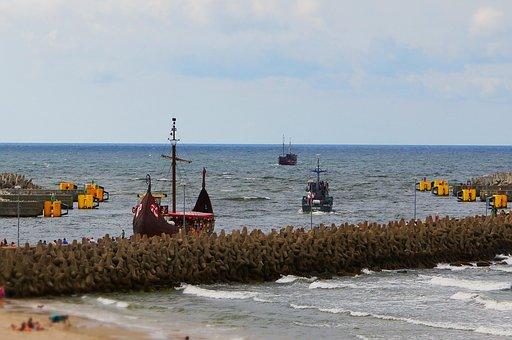 Port, Kolobrzeg, Kołobrzeg, Baltic Sea, Poland, Sea