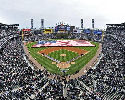 Baseball, Field, Stadium, Chicago, Illinoirs, Sky