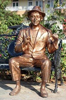 Bollywood, Kapoor, Raj, Actor, Bench, Statue, Brown