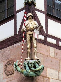 Nuremberg, Old Town, Knight, Dragon, Dragon Slayer