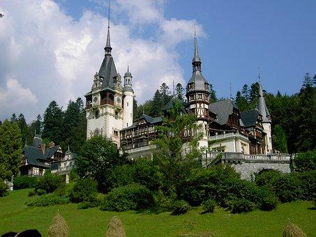 Castle, Peles, Mountain, Fir Trees, Azure, Green