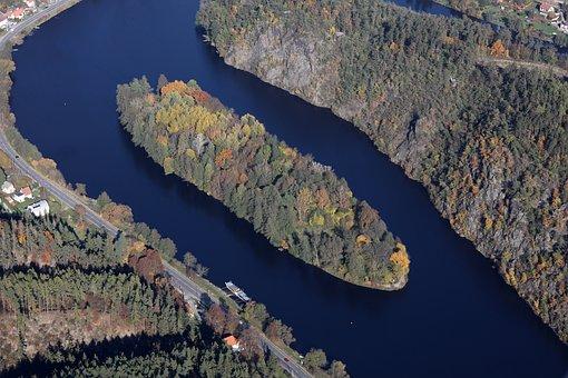 Island, Confluence, Sázava, Vltava, Autumn